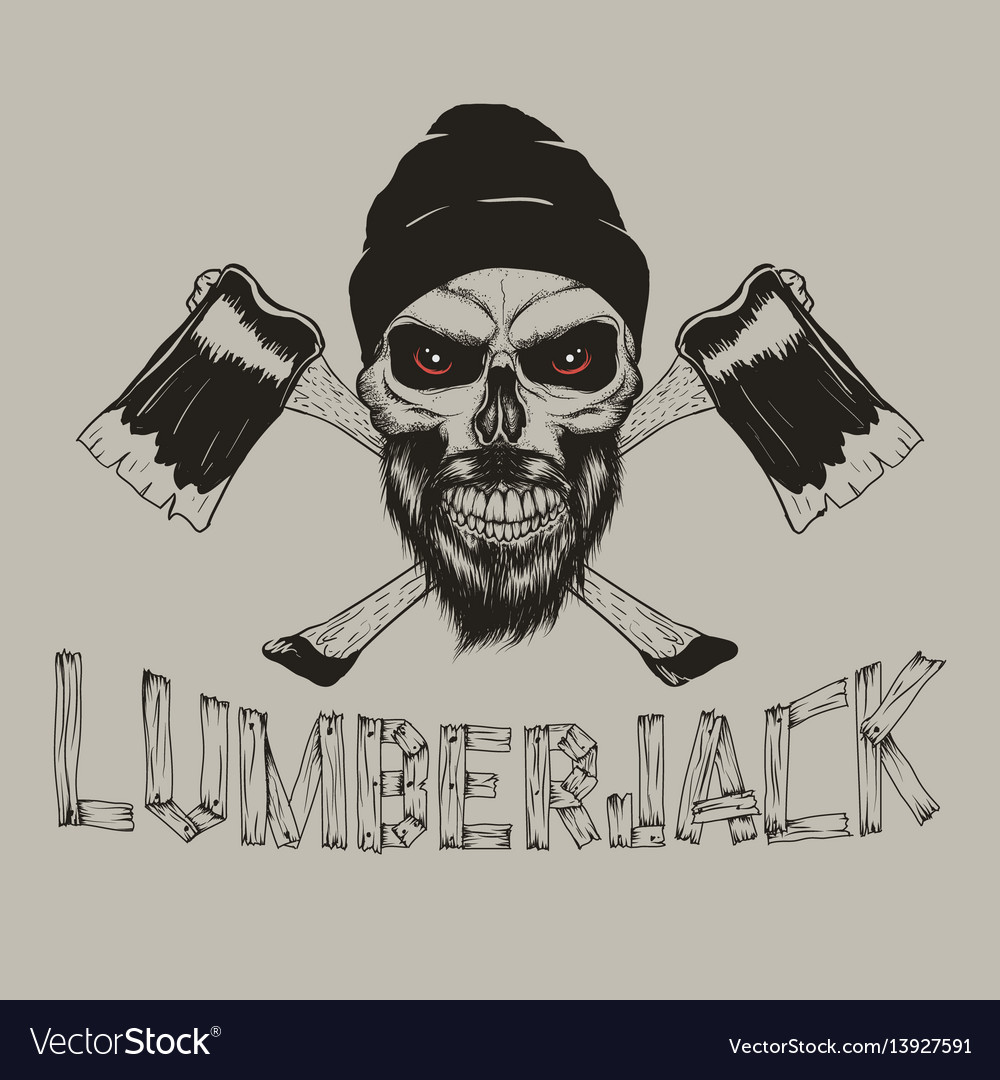 Lumberjack-skull with axes vector image
