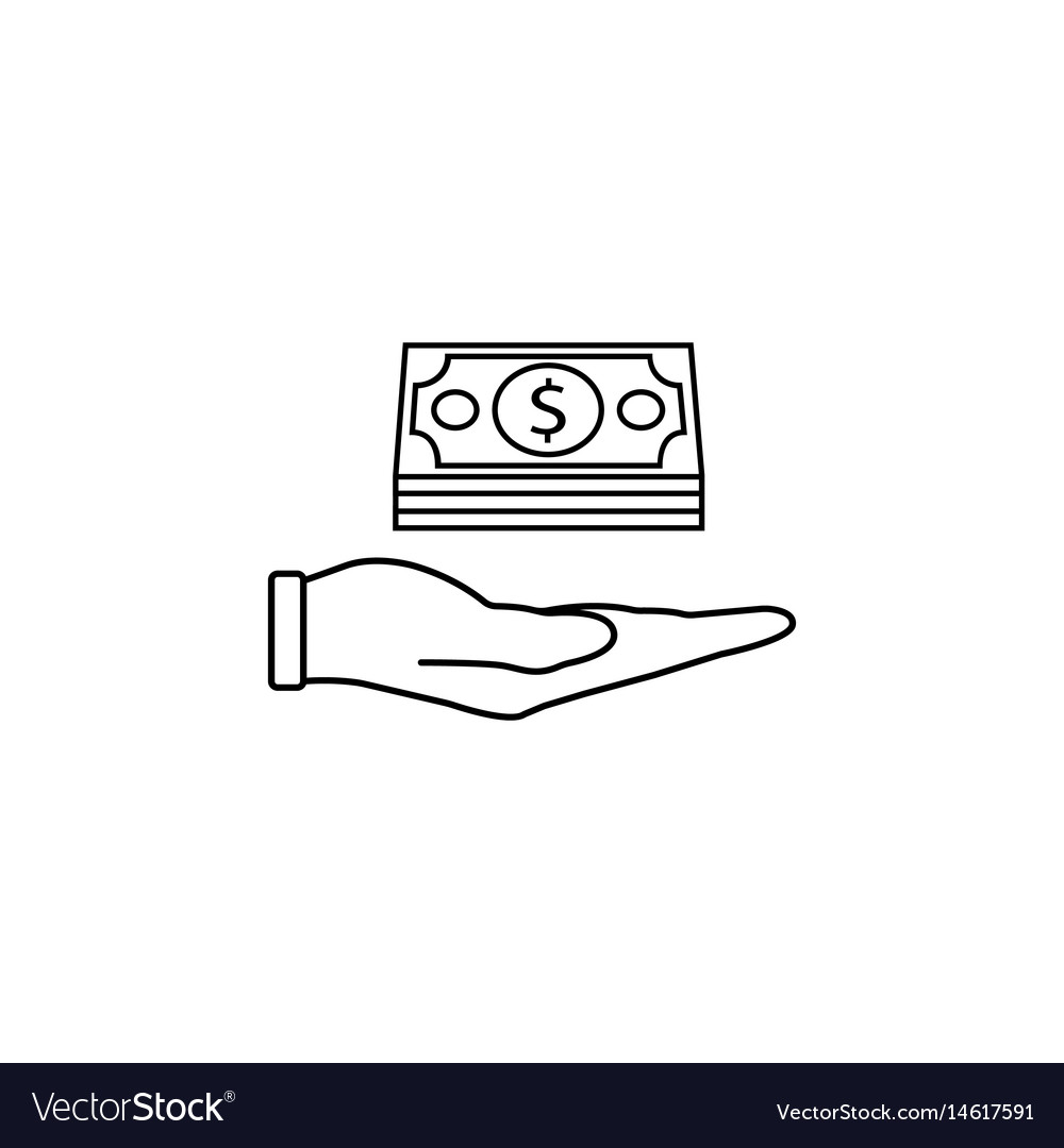 Moneys in hand line icon finance and business