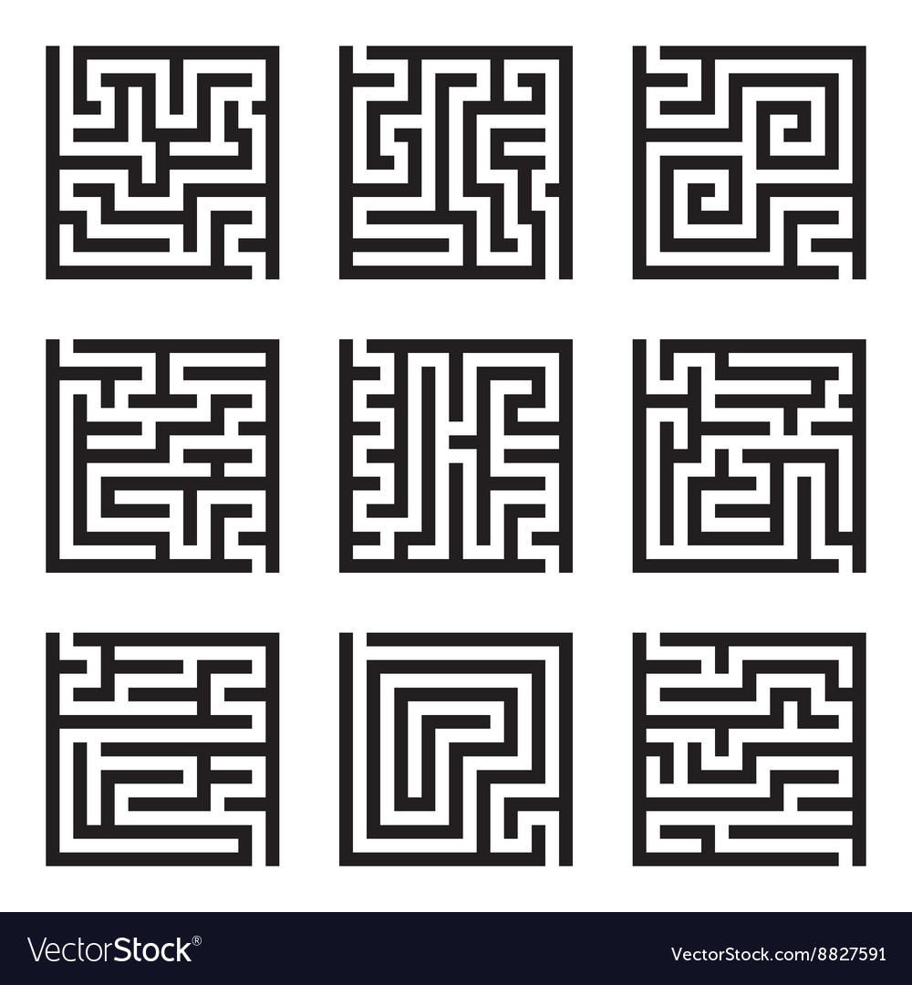 Nine simple maze isolated set vector image