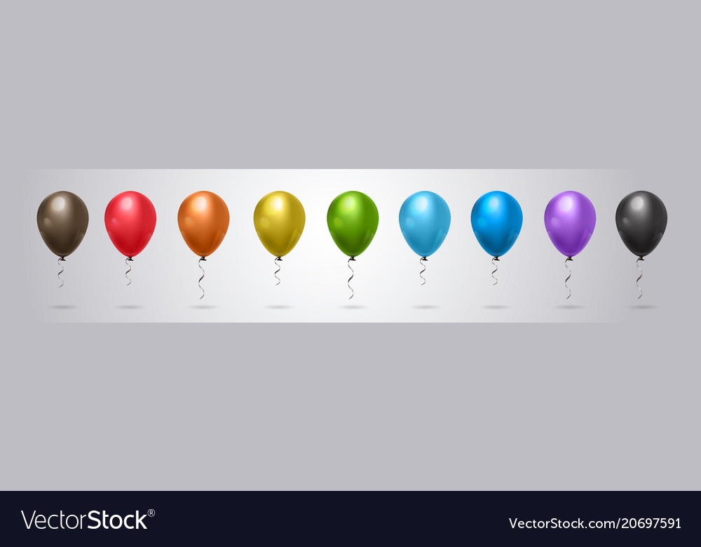 Set of colorful helium balloon on grey background