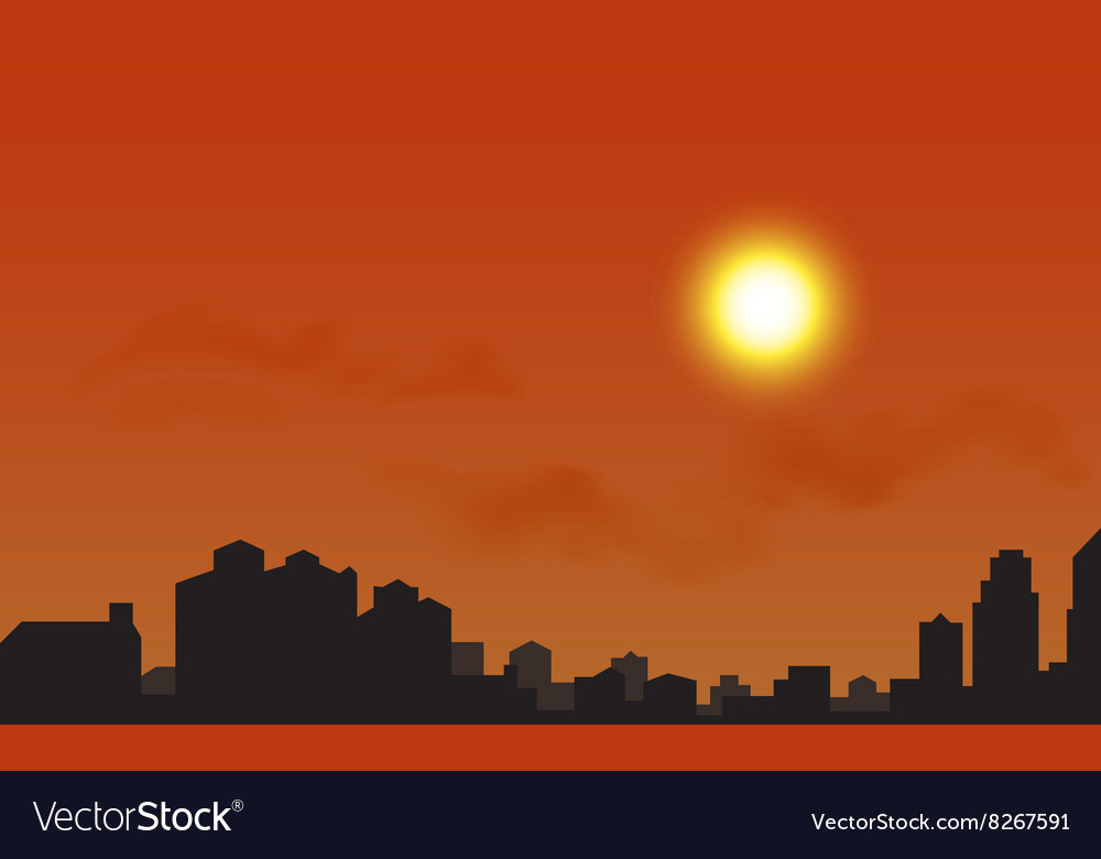 Silhouette of the city at sunset