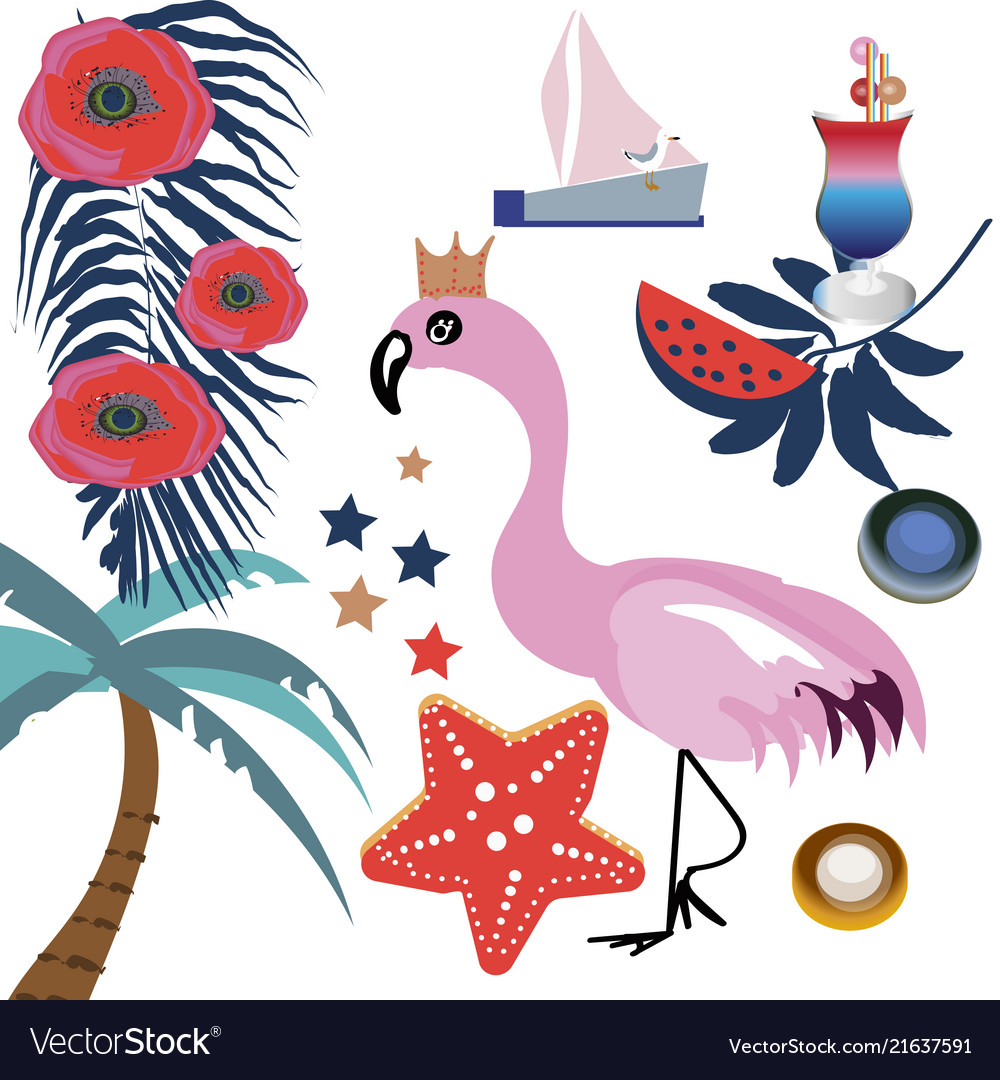Tropical set with pink flamingos palm