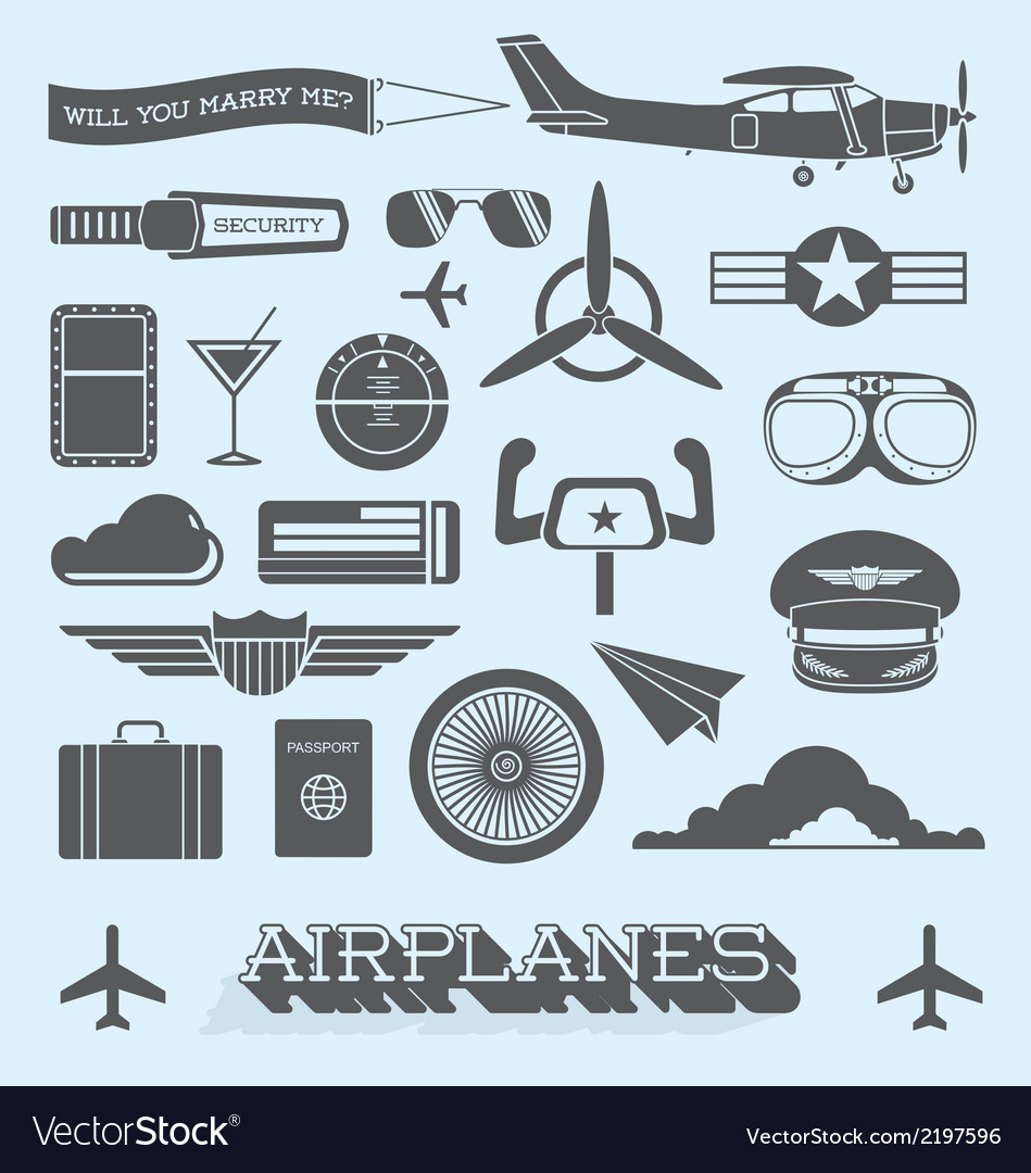 Airplanes and Flight Icons and Objects