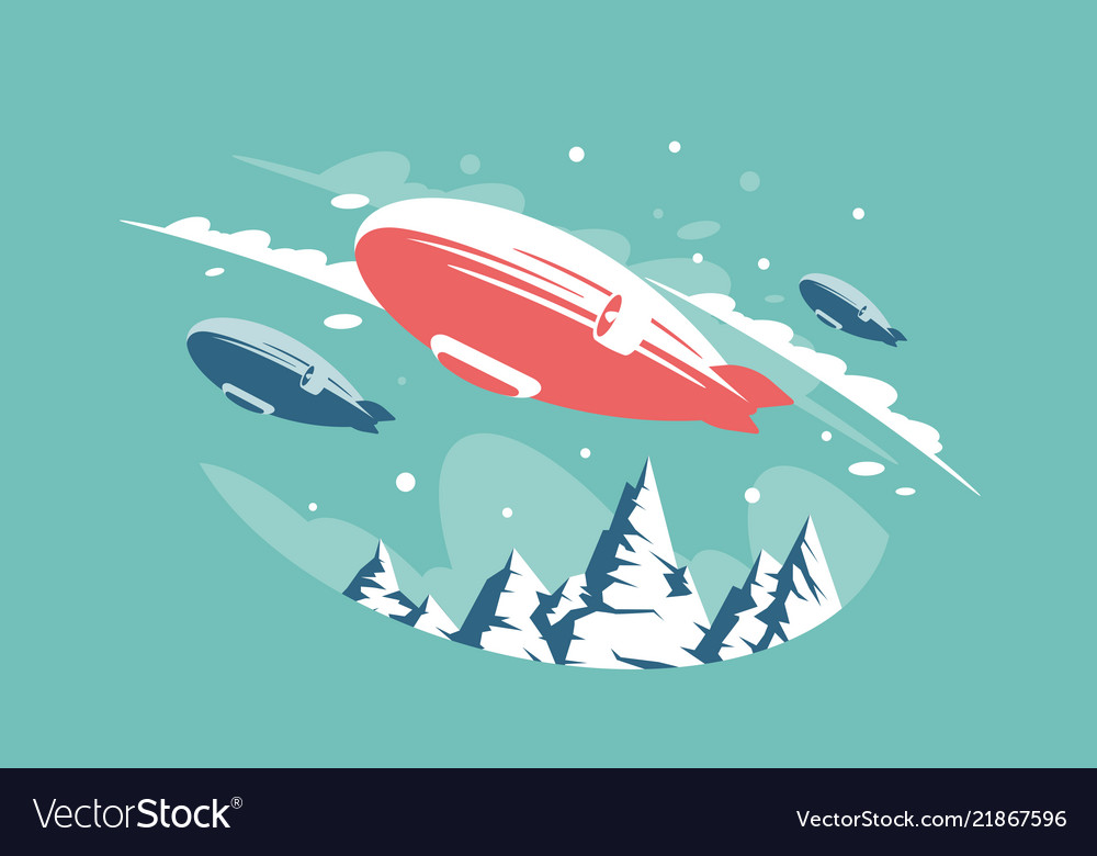 Airships in air above snowy mountains