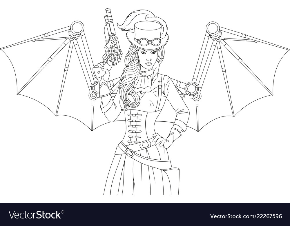 Beautiful girl with a steampunk gun