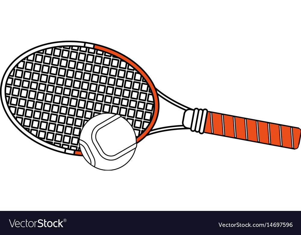 Color Silhouette Cartoon Tennis Racquet With Ball Vector Image