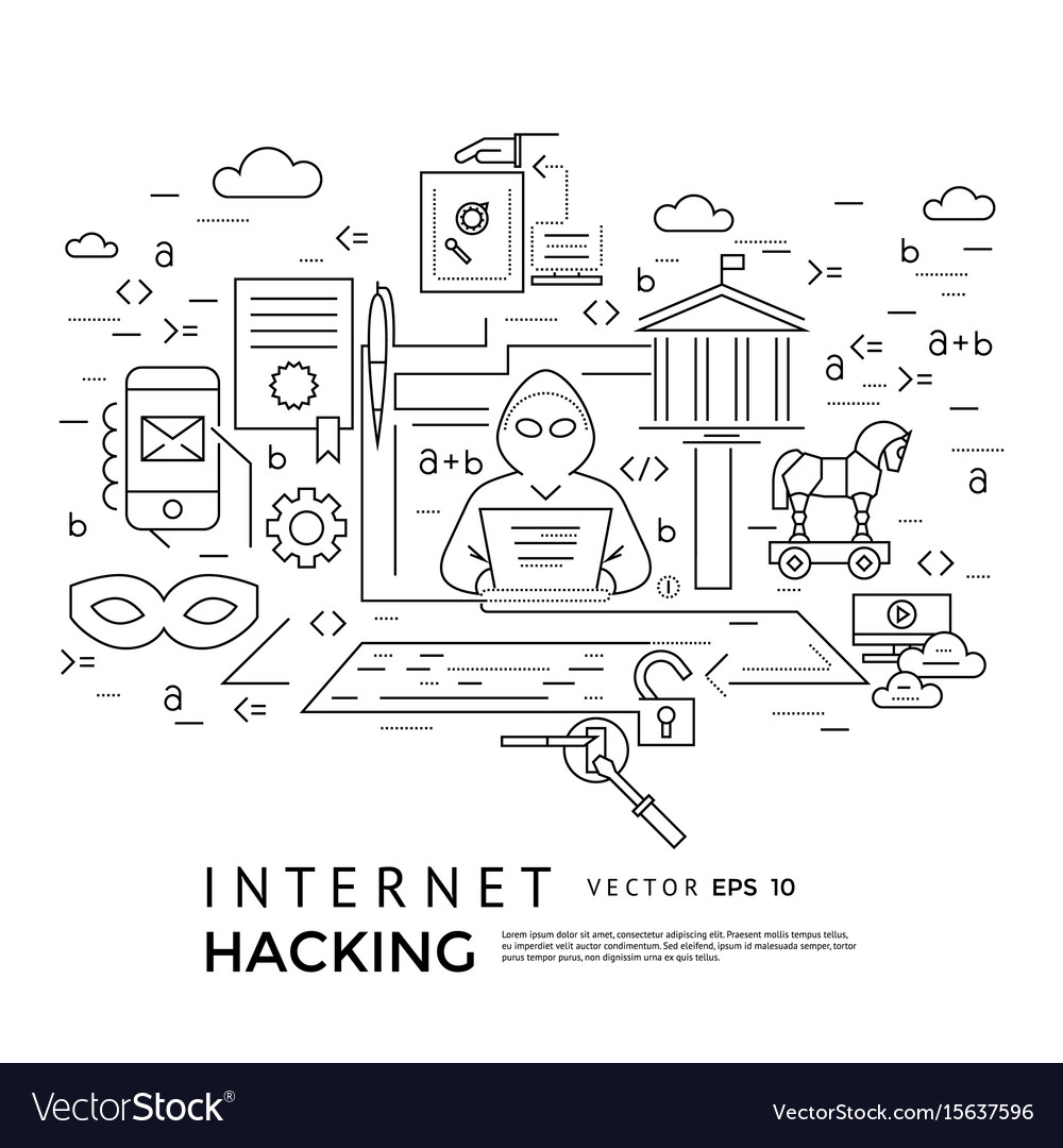 Digital black internet security vector image