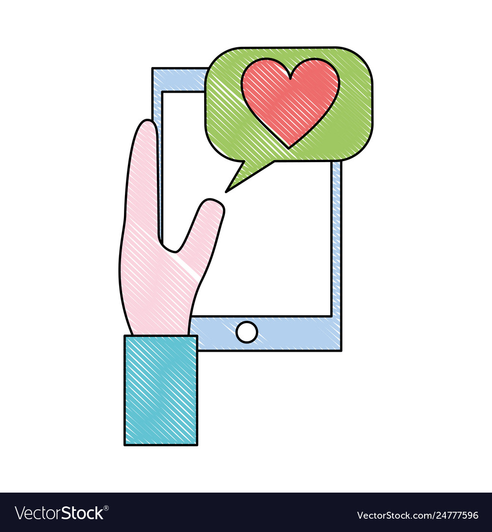 Hand holding smartphone message love communication
