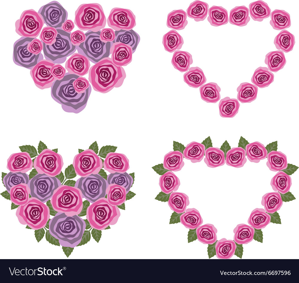 Hearts flower set 02