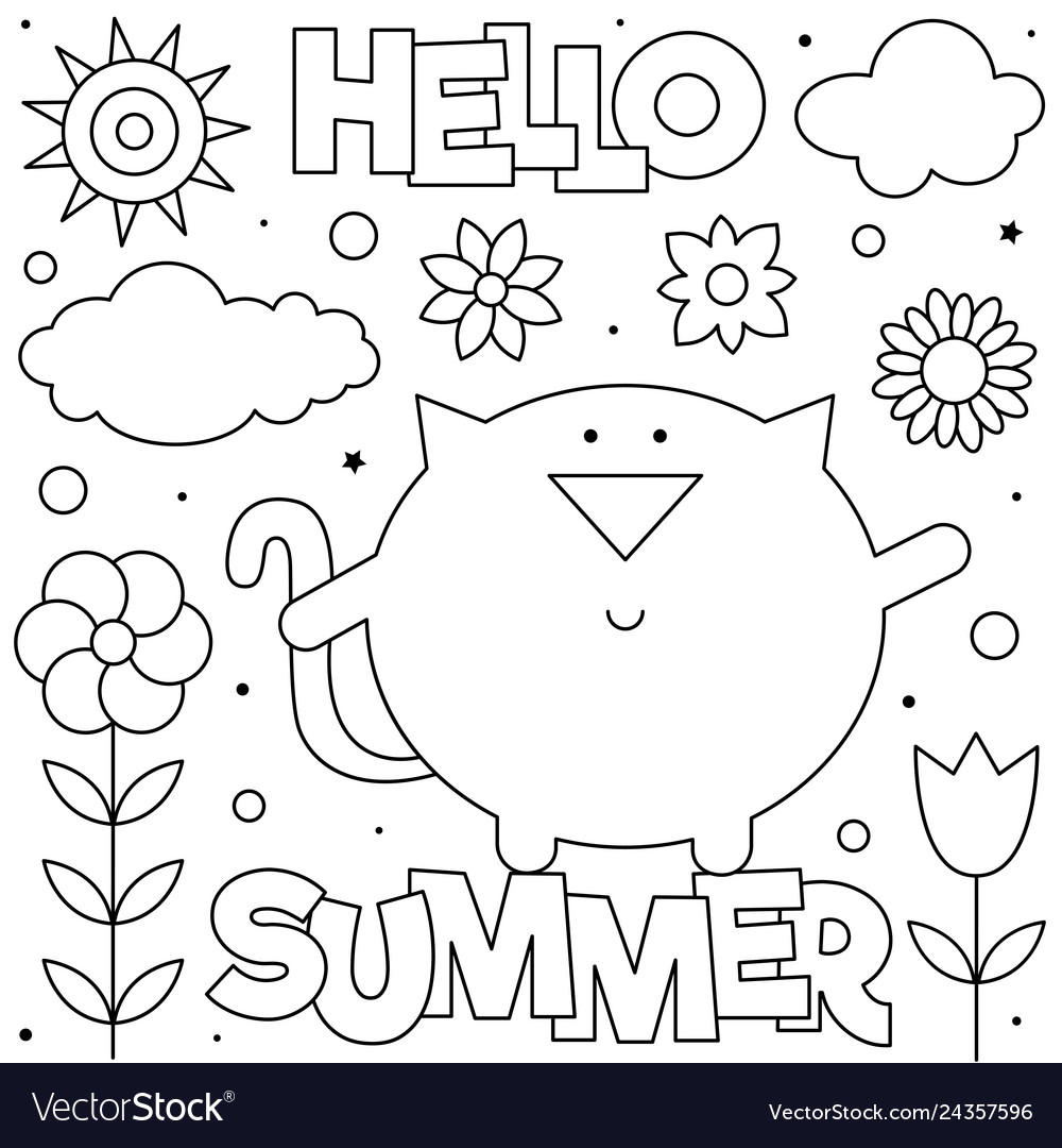- Hello Summer Coloring Page Royalty Free Vector Image