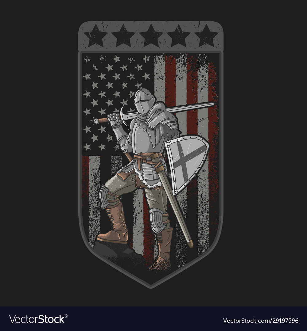 Knight full armor sword and shield american flag