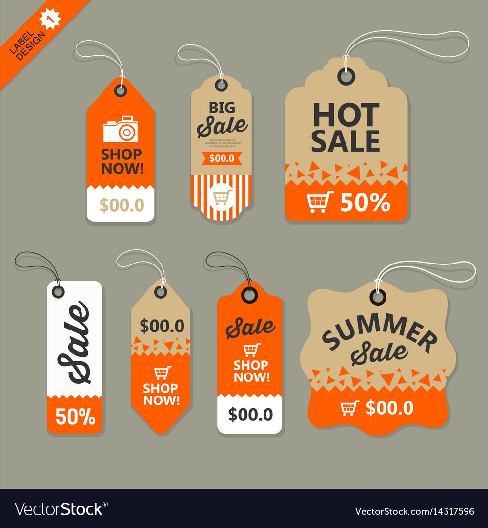Label paper brown and orange concept