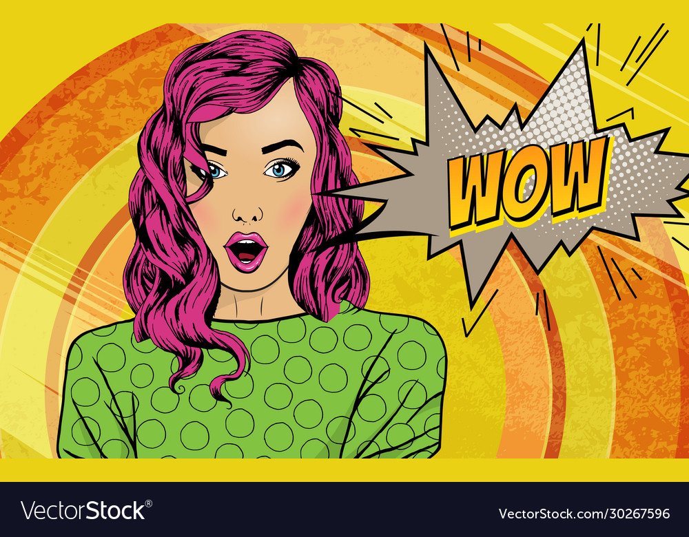 Pop art surprised woman face with open mouth