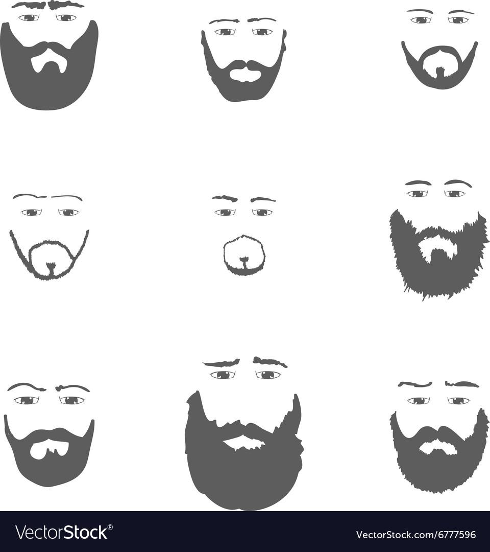 Set of Beard isoated on white background
