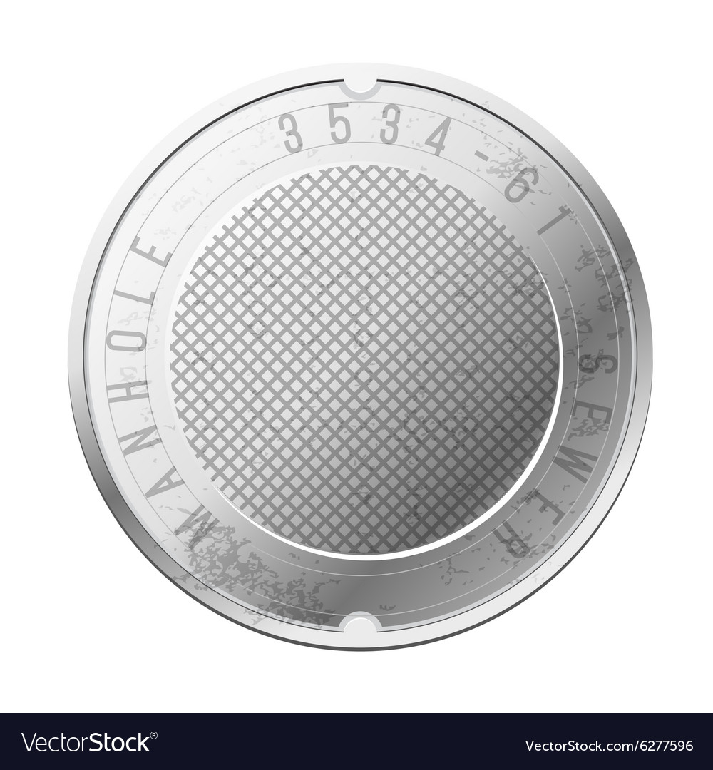 Top view of the closed sewer manhole Image vector image