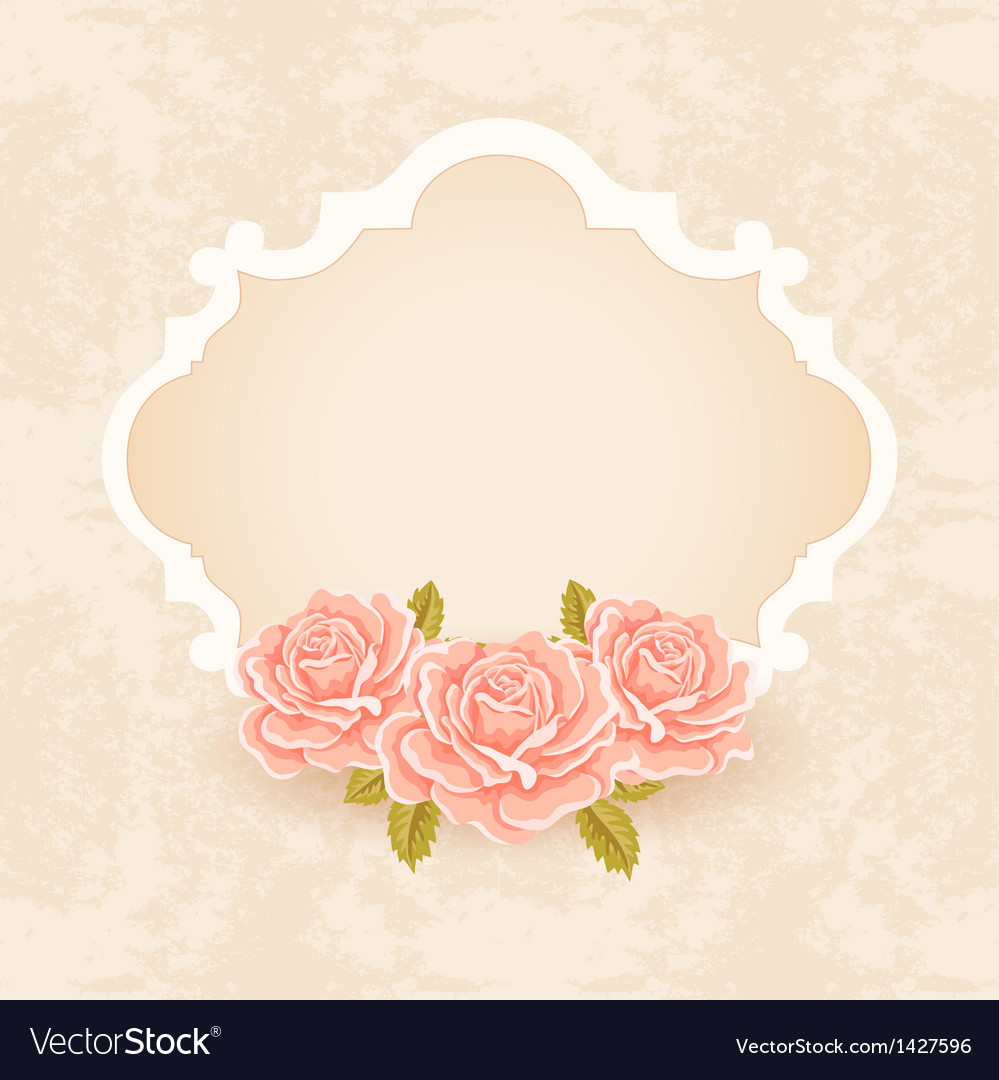 Vintage floral background greeting card template vector image m4hsunfo