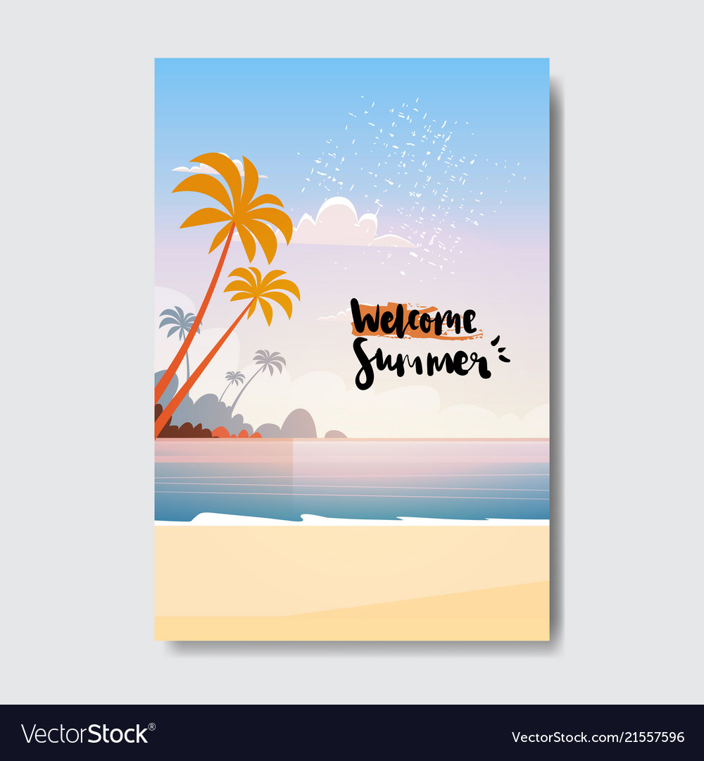 Welcome summer landscape palm tree beach badge