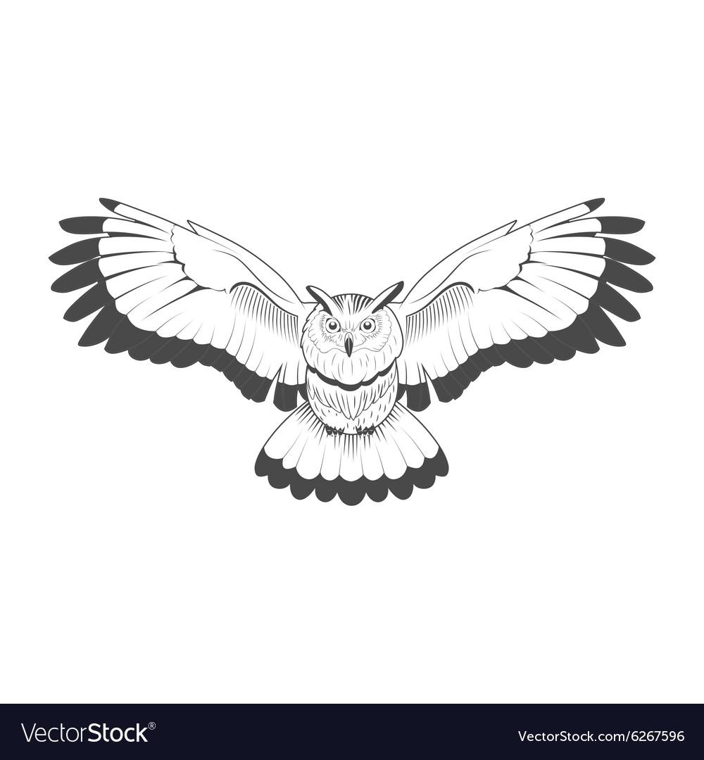 Wild owl emblem black and white