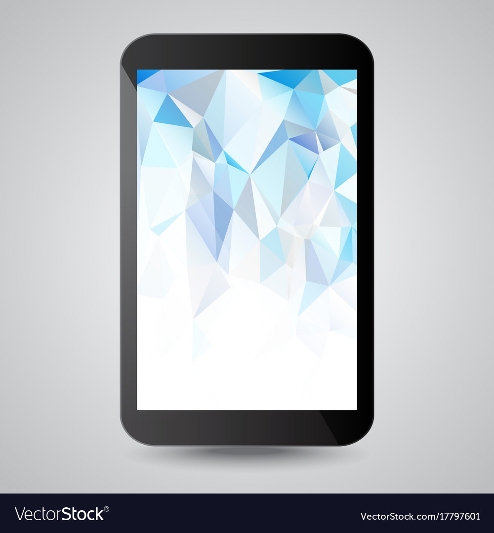 Black modern gadget with blue polygonal background