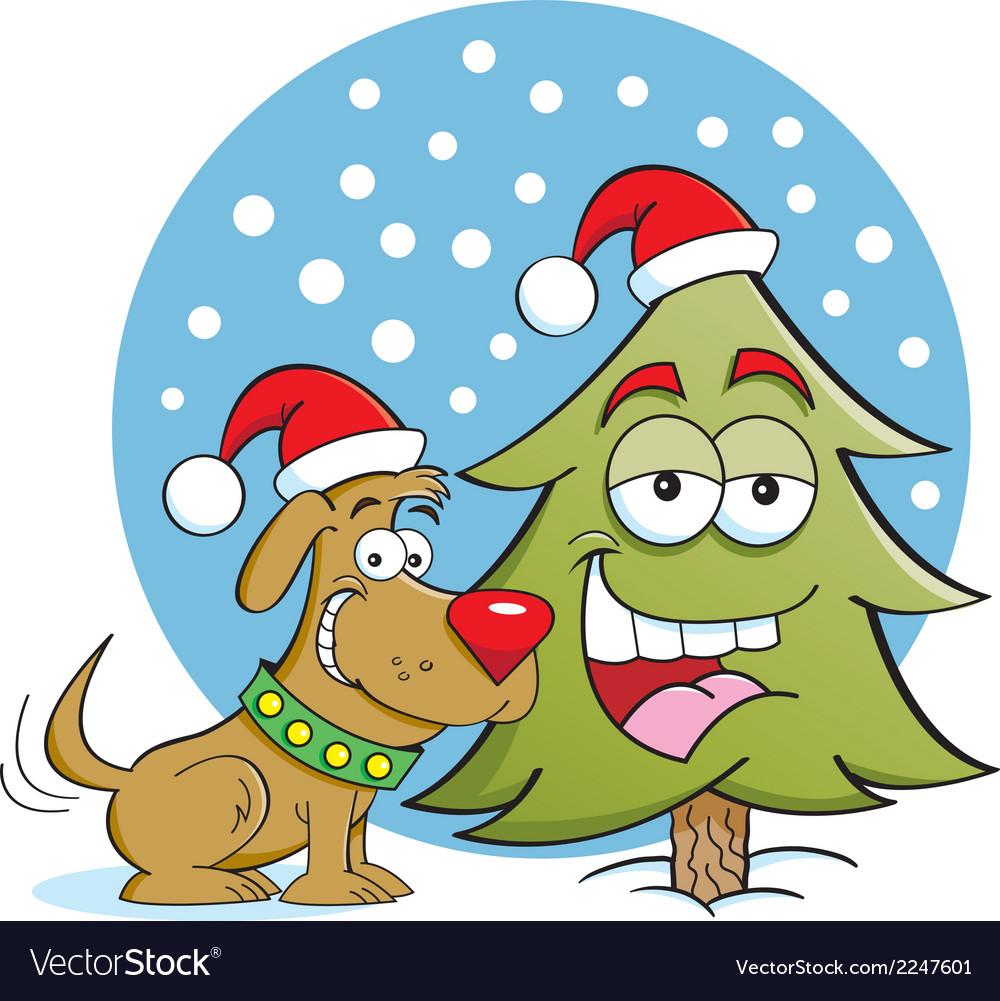 Cartoon Christmas Dog and Tree vector image