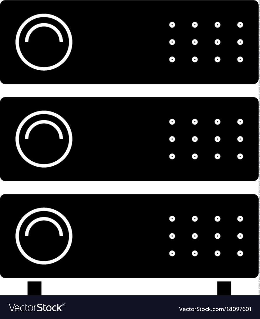Computer servers icon black
