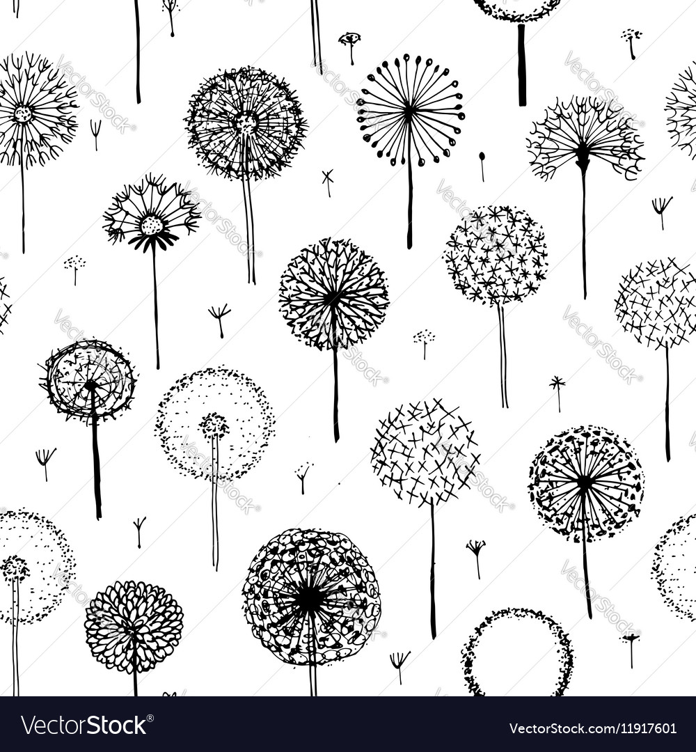 Dandelions seamless pattern for your design