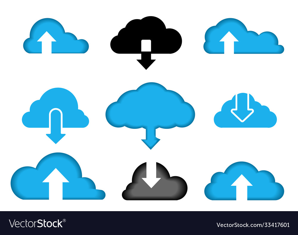 Data cloud a set icons computer