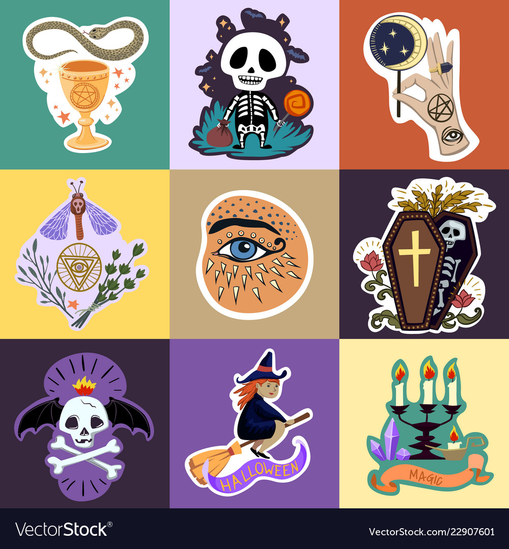 Halloween stickers set