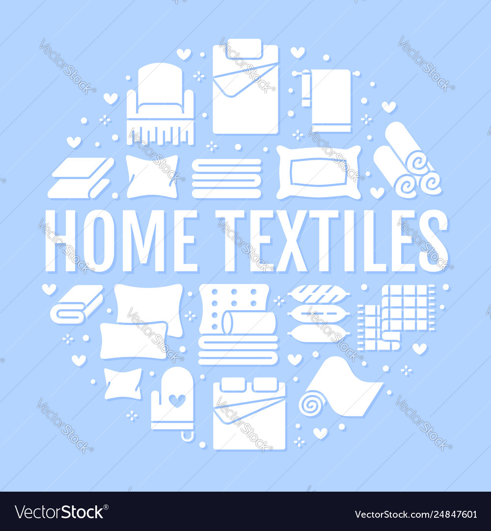 Home textiles circle template with flat glyph