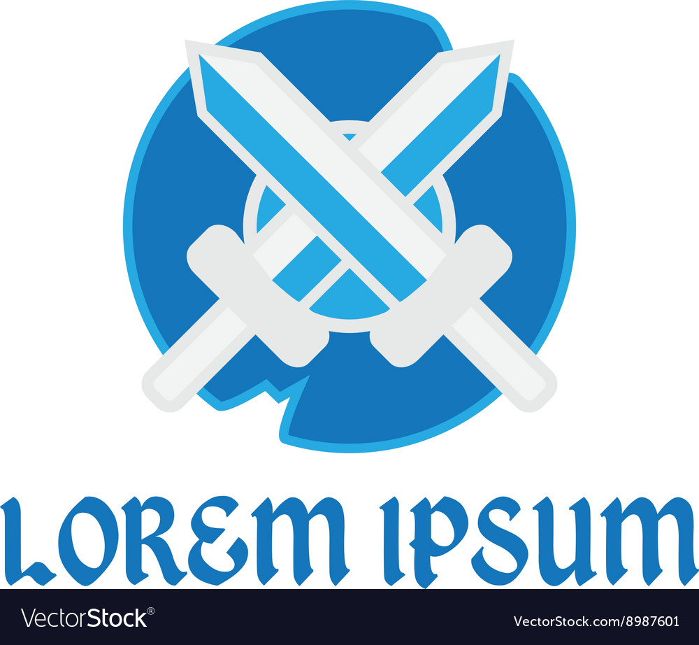 Logo swords and shield vector image