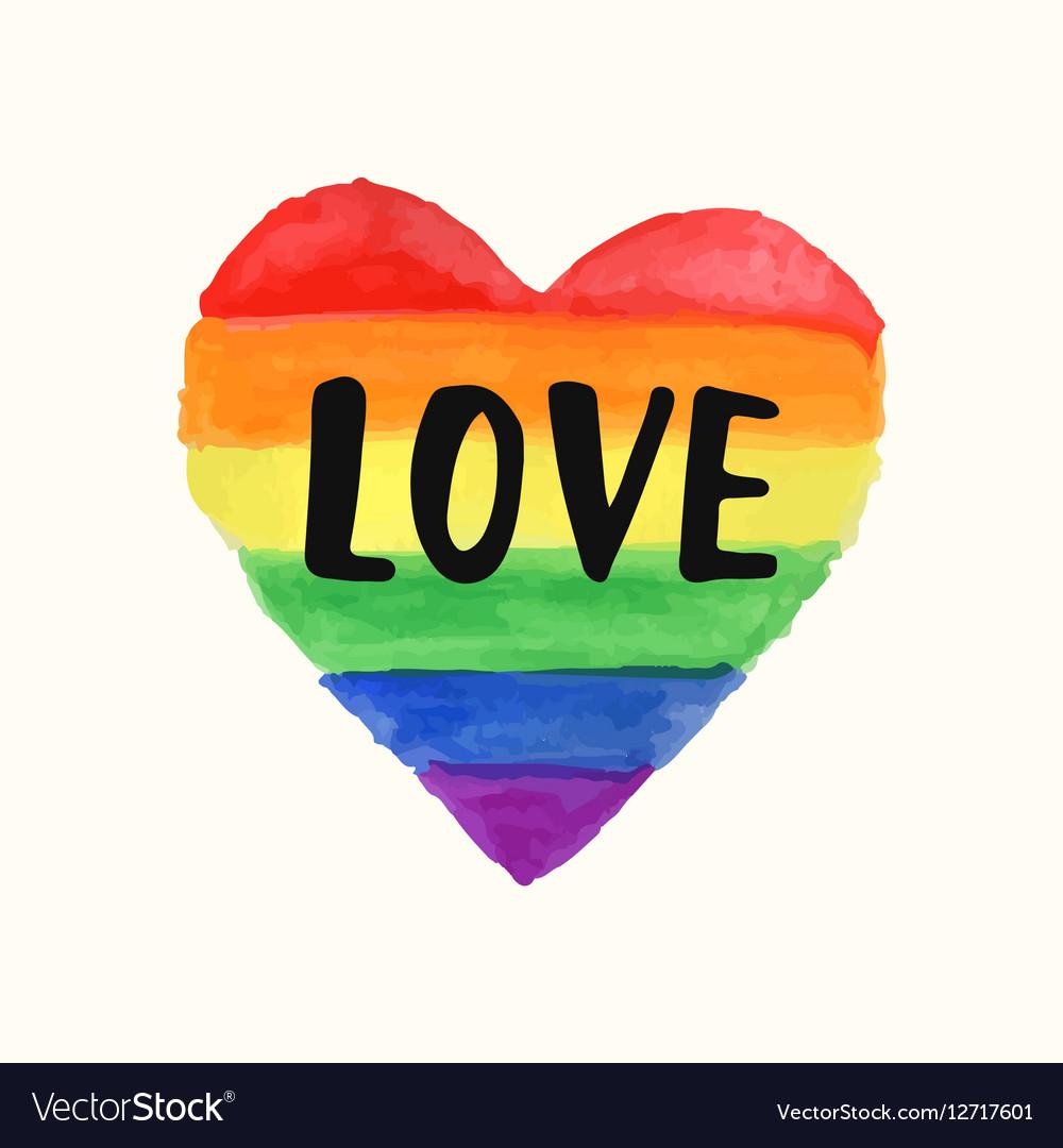 Love Gay Pride poster rainbow spectrum heart shape