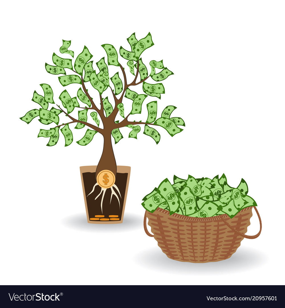 Money tree with a coin root green cash banknotes