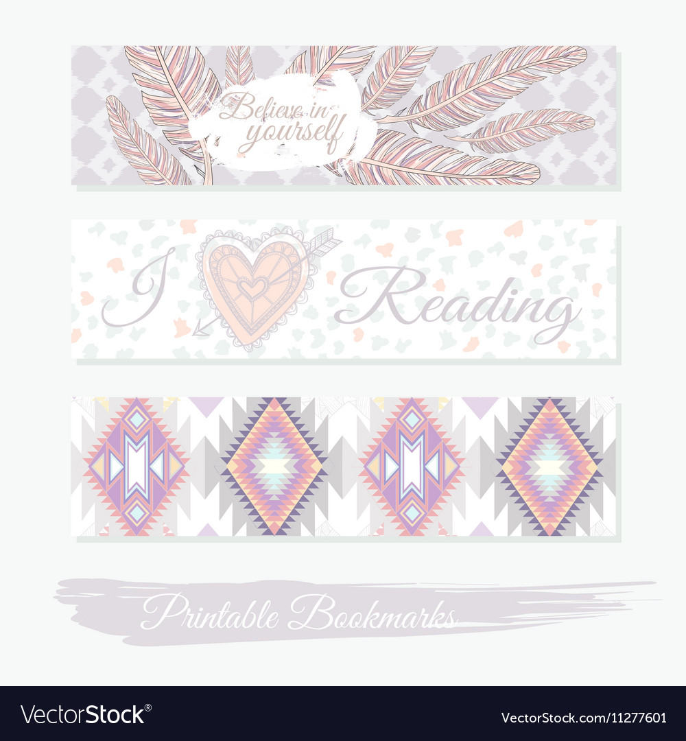 graphic about Bookmarks Printable identified as Printable bookmarks with feathers aztec habit