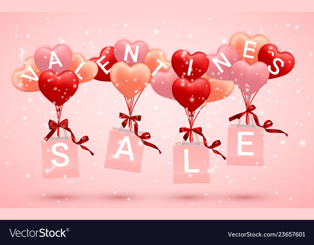 Sale happy valentines day background red pink and