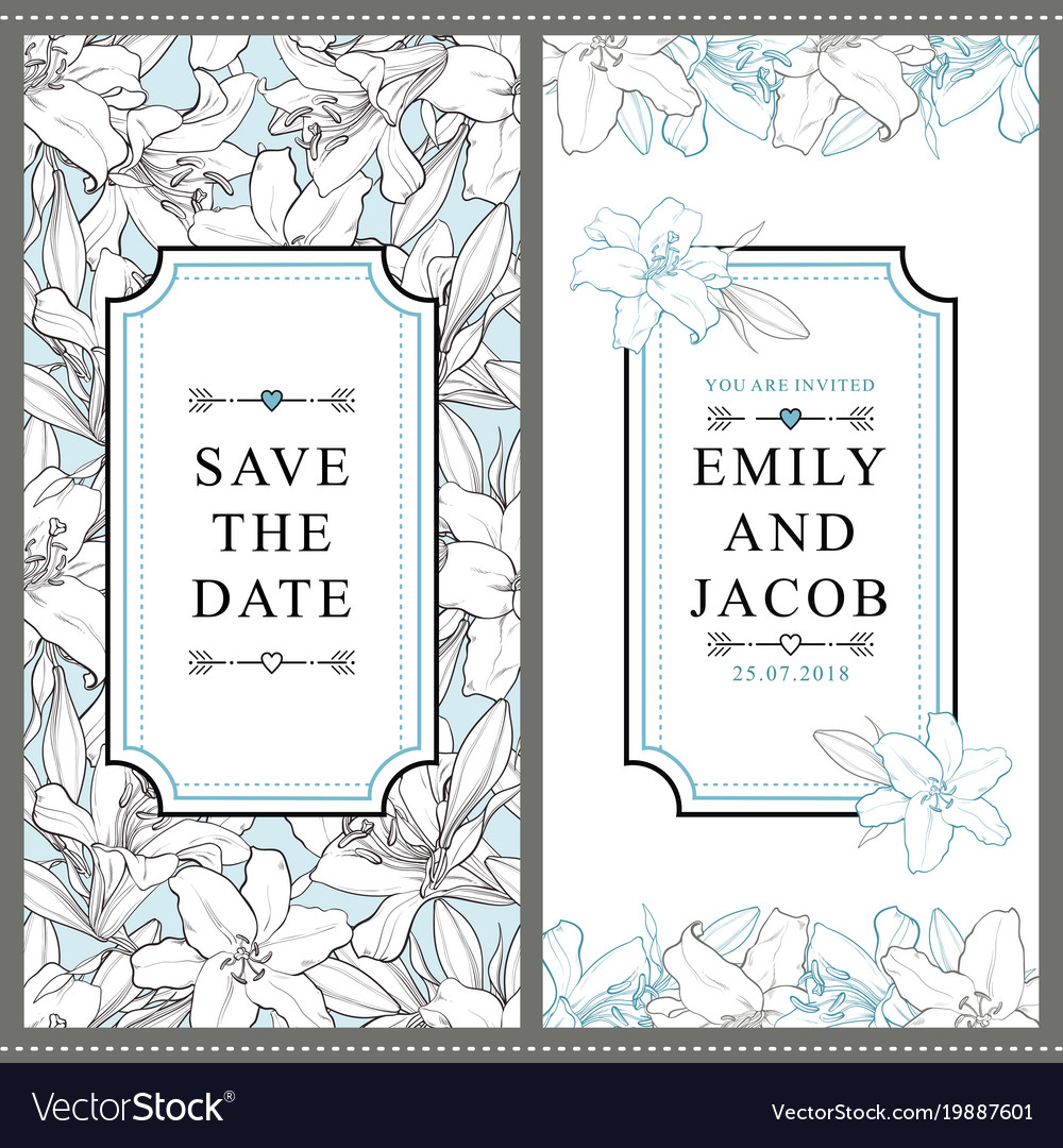 Two wedding invitation templates with white lilies