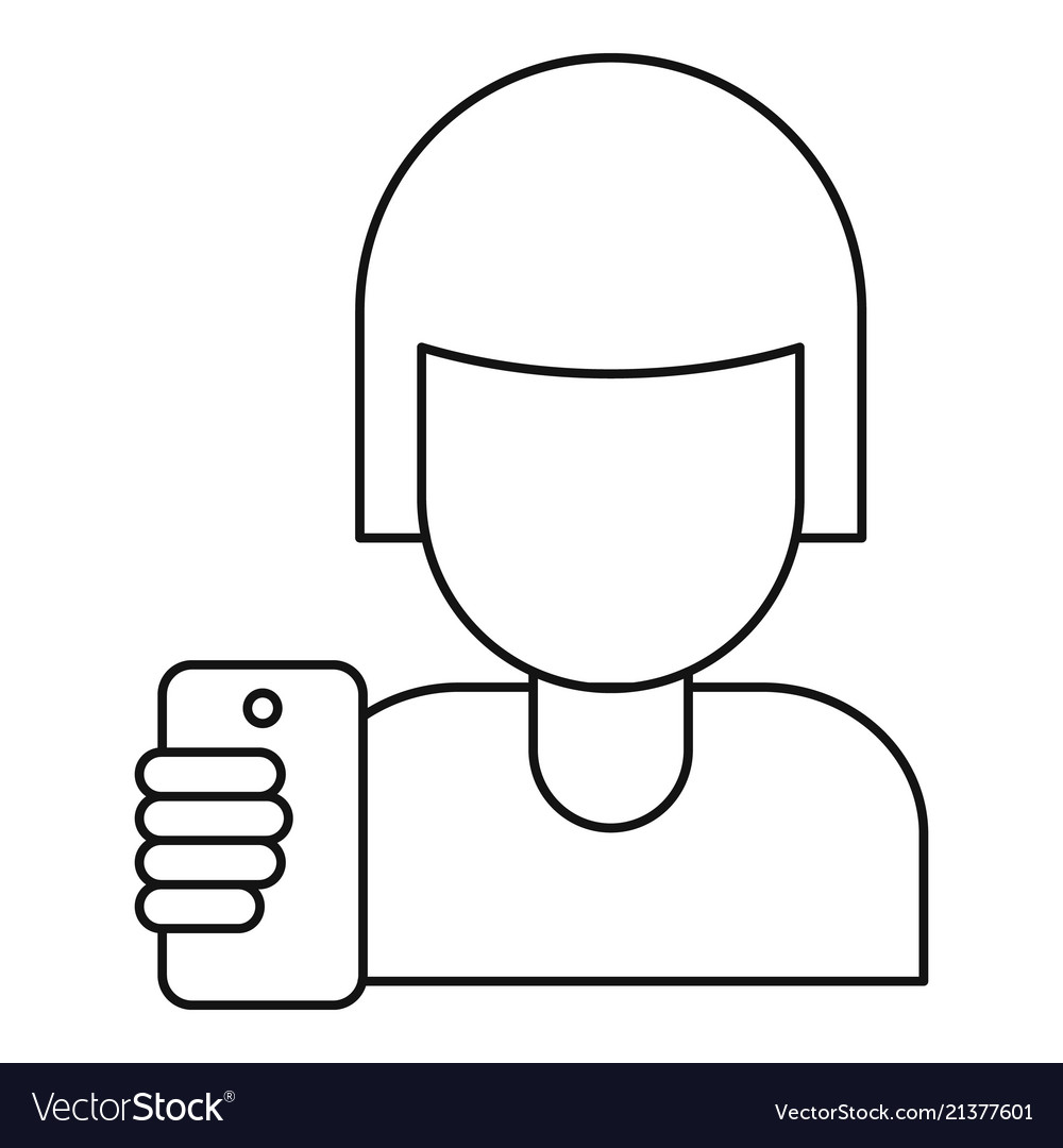 Woman take a selfie icon outline style