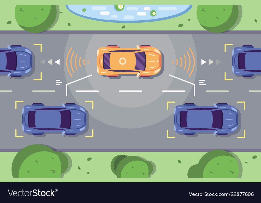 Autonomous car driving on road
