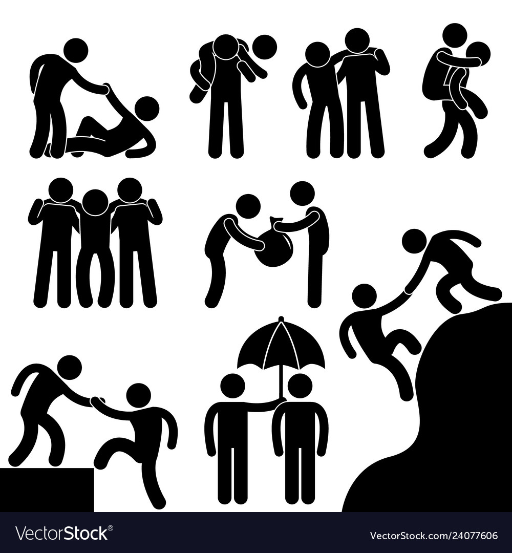 Business friend helping each other icon symbol