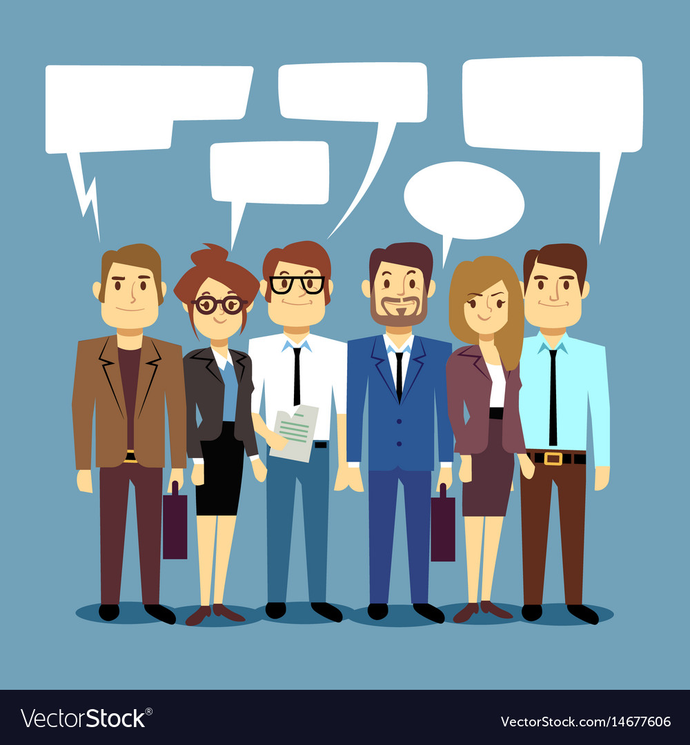 Group of business people talking teamwork vector image