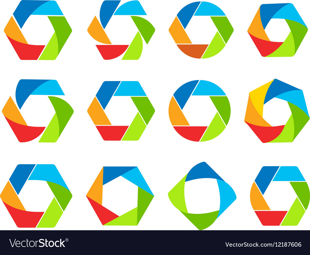 Isolated abstract colorful hexagon and round shape