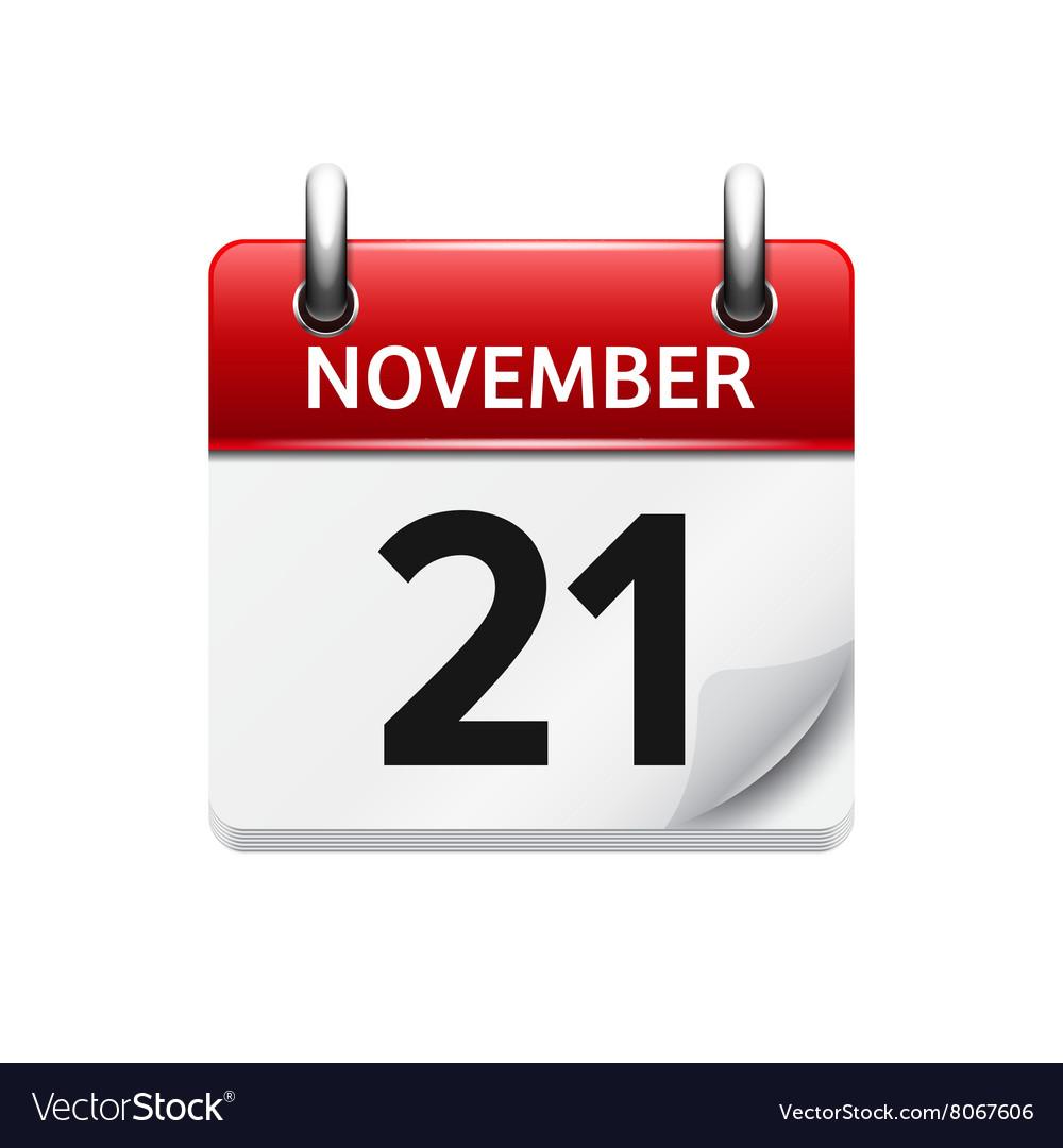 november 21 flat daily calendar icon royalty free vector