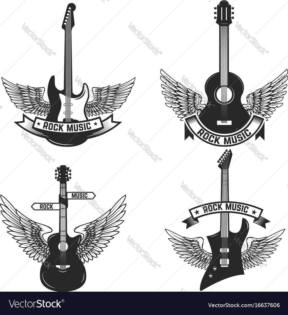 Set of labels with guitars and wings rock music