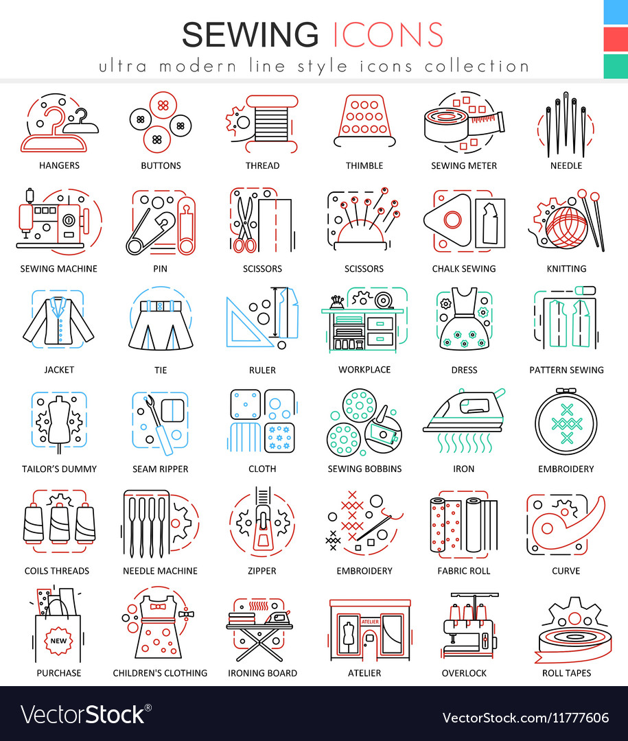 Sewing color line outline icons for apps