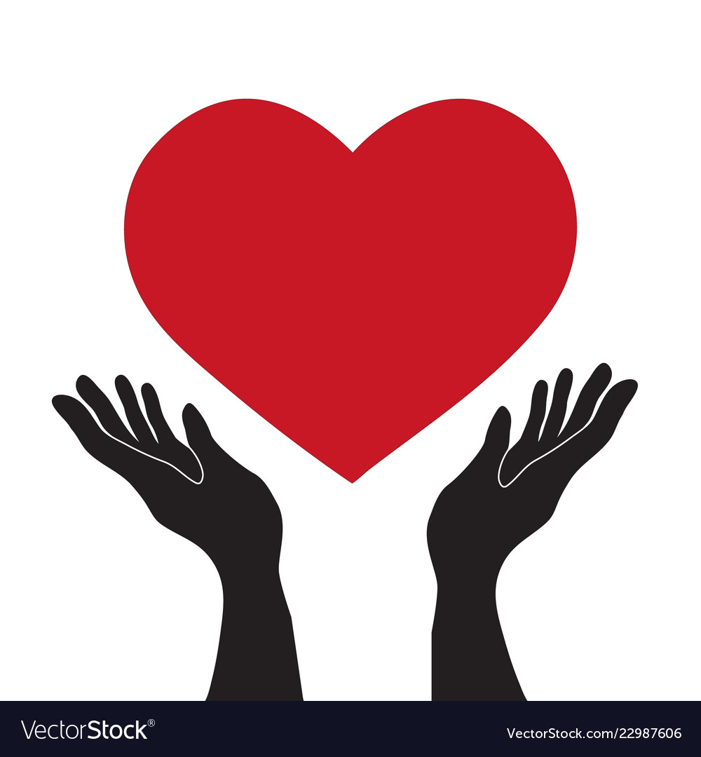 Simple flat black hands holding red heart icon