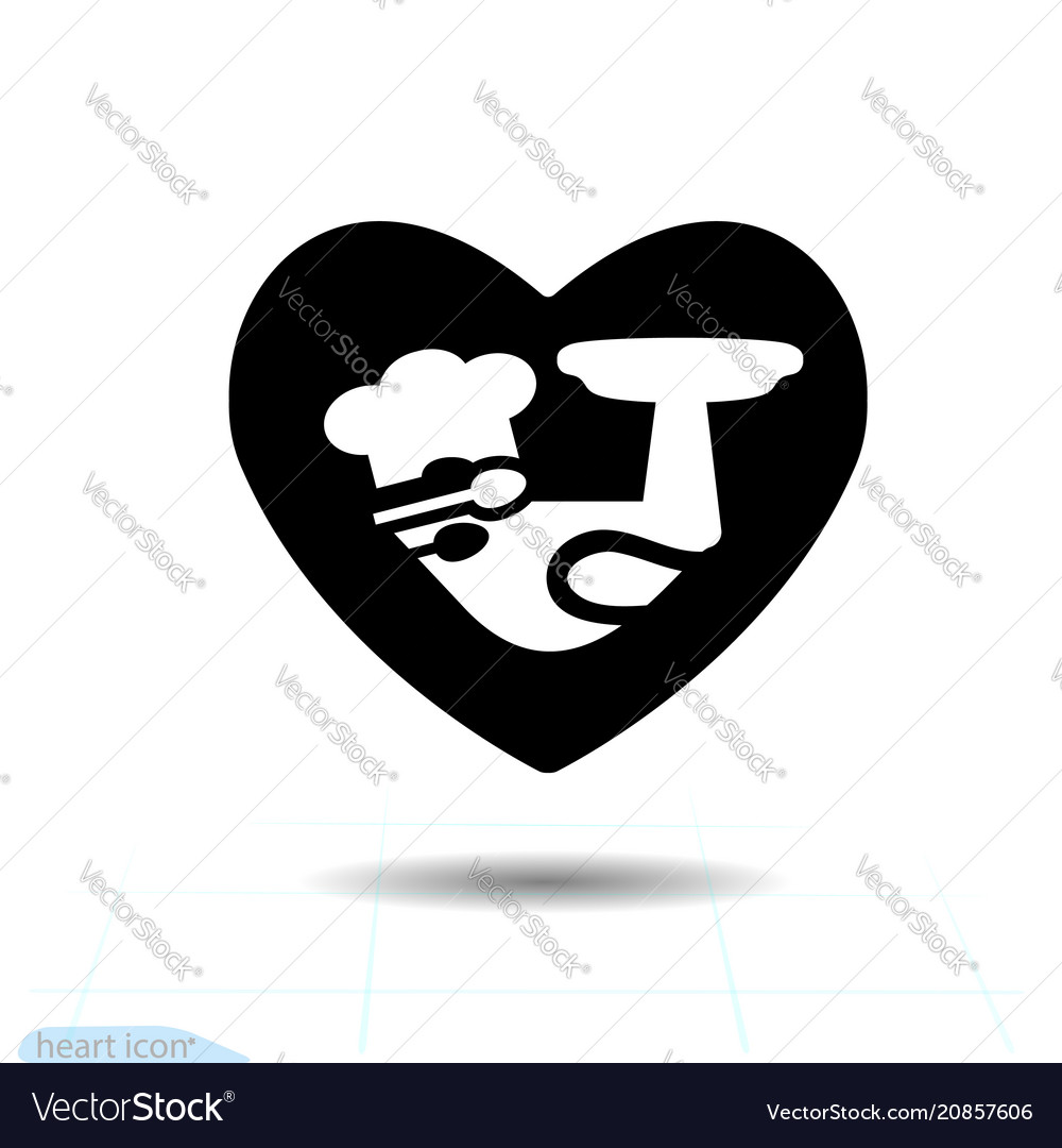 Simple heart black icon love symbol the cook in