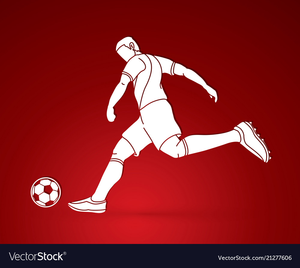 Soccer player running and kicking a ball action