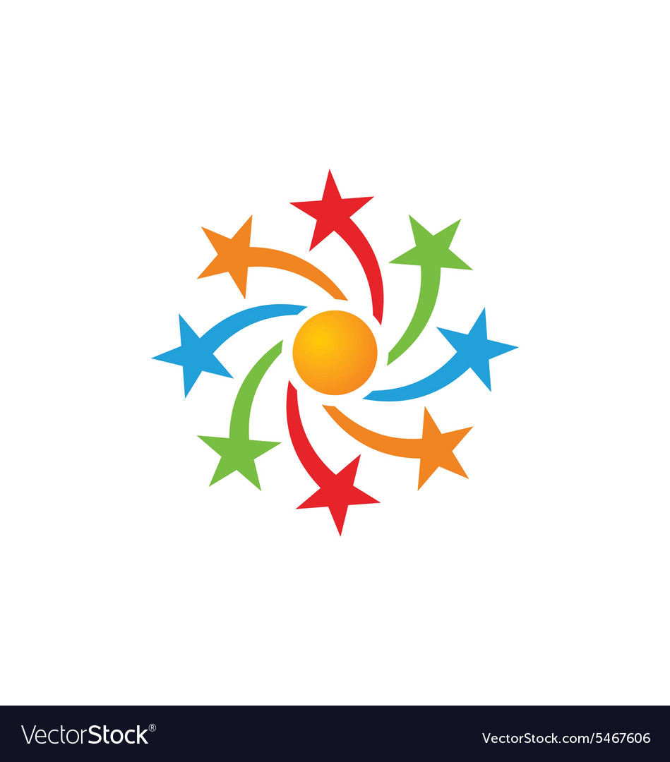 Star circle celebration color logo