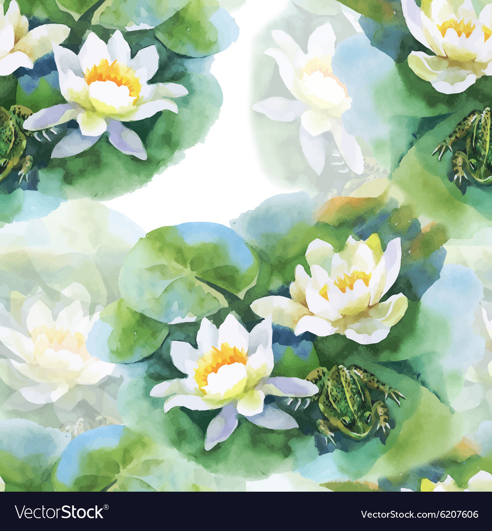 Watercolor white water lilly flowers seamless vector image izmirmasajfo