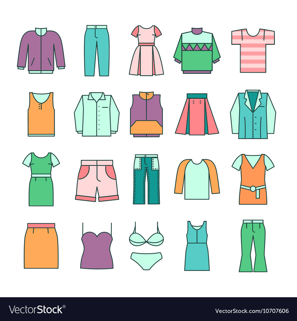 Women clothing icons in flat line style vector image