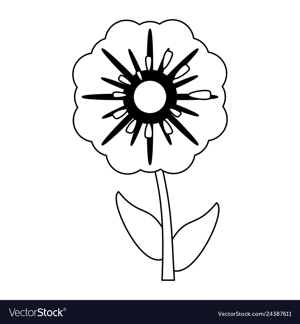 Beautiful Flower Cartoon Isolated Black And White Vector Image